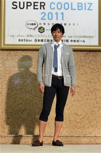 "thisfits:  Japan wants businessmen to shed suits, save energy ""The Japanese government wants the country's suit-loving salarymen to be bold this summer. Ditch the stuffy jacket and tie. And for the good of a country facing a power crunch, go light and casual. Japan's ""Super Cool Biz"" campaign kicked off Wednesday with a government-sponsored fashion show featuring outfits appropriate for the office yet cool enough to endure the sweltering heat. … ""When we started Cool Biz in 2005, people said it was undignified and sloppy,"" Koike said at the fashion show held at a Tokyo department store. ""But this is now the sixth year, and people have grown accustomed to it."" So what's different with Super Cool Biz? First, the dress code. Polo shirts, Aloha shirts and sneakers are acceptable now under the environment ministry's relaxed guidelines. Jeans and sandals are OK too under certain circumstances."" Stay strong, Japanese brethren. Stay strong.  Vader voice: ""NOOOOOOOOOOOO!"""