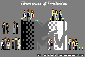 MTV Twilight Pixel Art 2.0, updated with last night's wins!  Pixels: MTV Twilight Tuesday Spring '08, first MTVMAs appearance in '08 (first official cast appereance too!), VMAs '08  presenting Paramore, MTVMAs '09 when  Twilight won five awards, VMAs '09 when they presented the first New  Moon clip, MTVMAs '10 when New Moon won six awards, MTVMAs 2011 when Eclipse won five awards, and yes… that's Rob  with the MTV jacket as seen in parazzi pictures :).