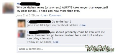 "whitewhine:  Just for saying ""I need zen,"" I hope it takes even more time now.  Usually I don't find WW all that funny, but this one is. Not really because of the whining, but because of the fun comments."
