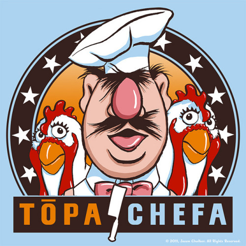 The Swedish Chef is the next Top Chef in Jason Chalker's new mash up for The Muppets T-Shirt Design Challenge. Vote it up at Threadless to see it print. Related Rampages: Forbidden Love! | The Bedrockowski Topa Chefa by Jason Chalker/ Manly Art (Blog) (Store) (Flickr) Via: manlyartadventure