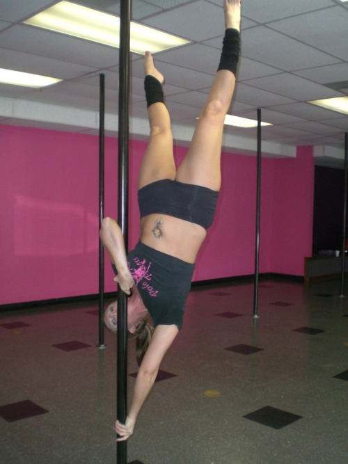 This is me doing a move called the pencil variation. I work in a pole dance studio.