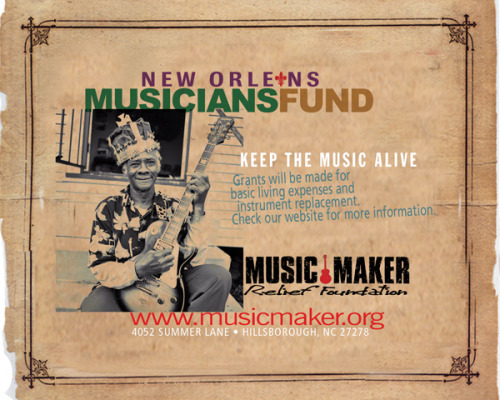 I helped the Music Maker Relief Foundation with their New Orleans Music Fund. A bit dated, but still a nice piece. I produced the MMRF logo in the late 90's and we produced the award-winning Winston Blues Revival Tour with Taj Mahal as the headliner. 32 cities. Big tobacco did some really good stuff for a bunch of old, indigent blues artists. And, our client received a W.C. Handy Award from the Blues Foundation. Maybe I will post some of the work I did for that campaign!