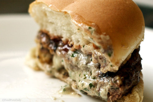 extracheese-please:  Bleu cheese burger. Holy heck.