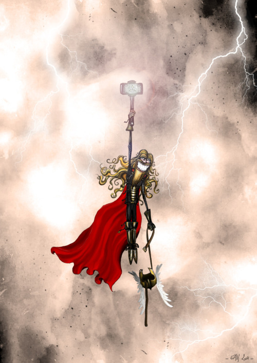 Thor : Crushed through the Sky | Crayon, Photoshop | 2011