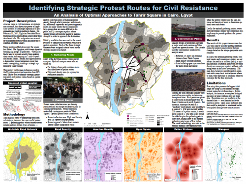 "Identifying Strategic Protest Routes for Civil Resistance: An Analysis of Optimal Approaches to Tahrir Square  Out of curiosity, Jessica began to wonder  whether the use of GIS data and spatial analysis might shed some light  on possible protest routes. She began her analysis by  identifying three  critical strategic elements for a successful protest route: ""1) Gathering points  where demonstrators initiate protests; 2) two types of routes—protest  collection areas of high population density through which protesters  walk to collect additional supporters and protest approach routes on  major streets that accommodate large groups that are more difficult to  disperse; and 3) convergence points where smaller groups of protester  merge to increase strength in order to approach the destination."""
