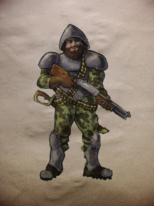 Motatan Man-at-Arms. As I was saying in my last post, these character designs (and maps) are part of a personal project that started as an idle doodle but is fast becoming absurdly large.