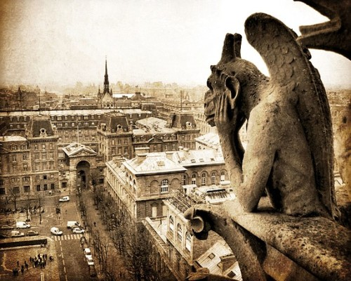 Photographer: Tracey Capone. Gargoyle overlooking Paris France