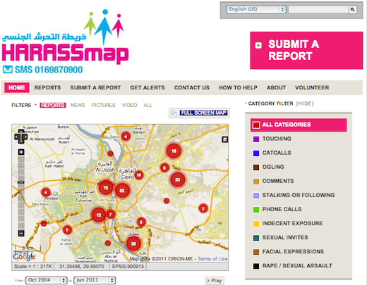 "HarrasMap tracks reports of sexual harassment in Egypt. The Next Web Middle East:  If you've ever been to Cairo, you'll know that, as a woman, walking down the streets of the city, the chances that you'll get harassed are sadly pretty high. I actually cringe writing that and there's a part of me that doesn't want to acknowledge it publicly. Whether it's because as Middle Eastern women, we've been conditioned not to talk about it, or because it tarnishes the country's image, I can't tell. But that way of thinking is probably part of the inspiration behind the relatively new Cairo-based initiative, HarassMap. […] The very act of reporting the incident is the first step in awareness, as Engy explains. ""The main idea is to provide women with a platform where they can speak up, share their thoughts and experiences."""
