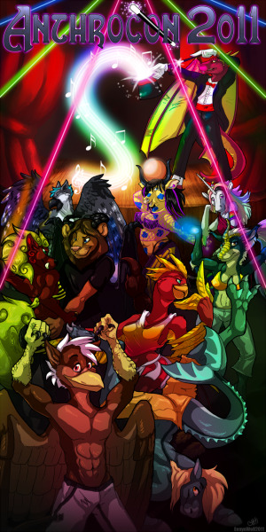 illusionofknowledge:  Anthrocon 2011 Dance Poster - by EenyuWolf
