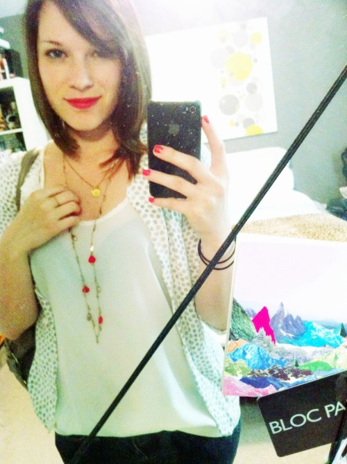 Trying out my new coral/red lipstick.  (pardon the dusty mirror, havent had a chance to clean my room since moving back home)  What do you think?
