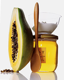 Green-Papaya Brightening Mask1/2 cup unripe papaya, diced1 teaspoon plain yogurt1 teaspoon honey Blend  ingredients in a food processor until smooth. Apply to clean skin using  fingers; leave on for 8 to 10 minutes. Rinse off using cool water and  pat dry. Finish by applying a gentle moisturizer. Read more at Wholeliving.com: DIY Skin-Brightening Mask