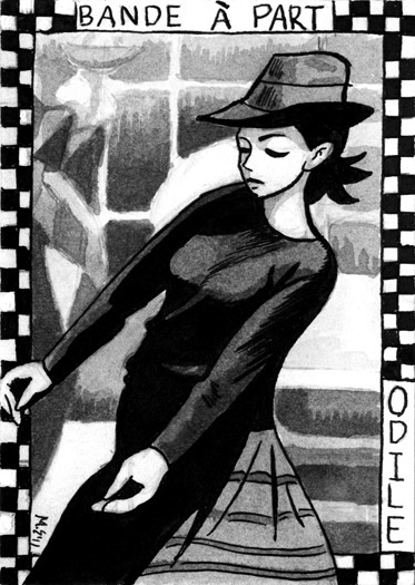 Sketch card based on Jean Luc Godard's Bande À Parte