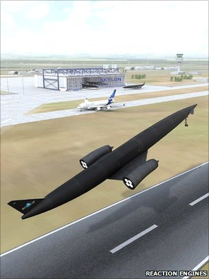 The proposed Skylon vehicle would do the job of a big rocket but operate like an airliner, taking off and landing at a conventional runway. The European Space Agency's propulsion experts have assessed the details of the concept and found no showstoppers. They want the next phase of development to include a ground demonstration of its key innovation - its Sabre engine. … Realising the Sabre propulsion system is essential to the success of the project. The engine would burn hydrogen and oxygen to provide thrust - but in the lower atmosphere this oxygen would be taken directly from the air. This means the 84m-long spaceplane can fly lighter from the outset with a higher thrust-to-weight ratio, enabling it to make a single leap to orbit, rather than using and dumping propellant stages on the ascent - as is the case with current expendable rockets. … The price for launching a kilogram of payload into a geostationary orbit - the location for today's big telecoms satellites - is currently more than $15,000 (£9,000). Skylon's re-usability could bring that down to less than $1,000, claims REL.