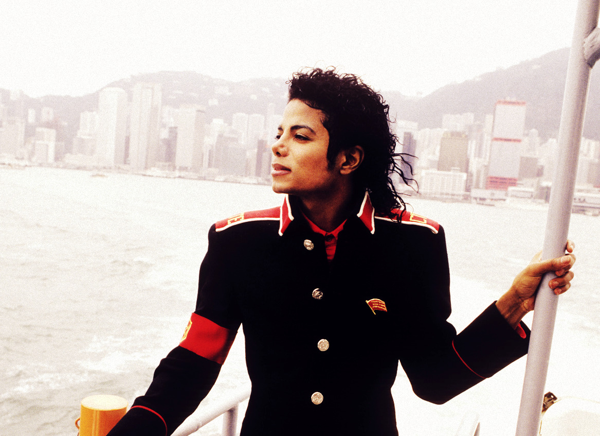 Michael Jackson in Hong Kong. From what I see, I believe he was taking a trip on the Star Ferry.