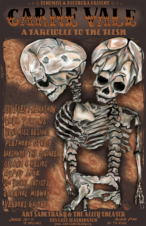 flyer for CARNE VALE: a farewell to flesh. Going on June 10th and 11th at the Art Sanctuary at the Alley Theater, Louisville. I will be a vendor, selling one of a kind chainmaille jewelry.