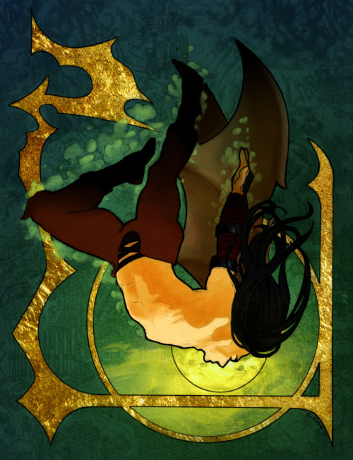 comicartclub:  C. Cobb's Legacy of Kain: The Fall of Raziel  This piece was overly ambitious for the amount of time I had last week. And I am man enough to admit that I am the slowest artist eeeeever. But I'm also pretty stubborn and really wanted to try something art nouveau-ish, so…here you go. Next week? Stick figures!
