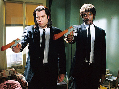 super great:  John Travolta and Samuel L. Jackson with Nintendo Zapper guns in Pulp Fiction  画