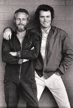 thatkindofwoman:  awesomepeoplehangingouttogether || Paul Newman and Clint Eastwood
