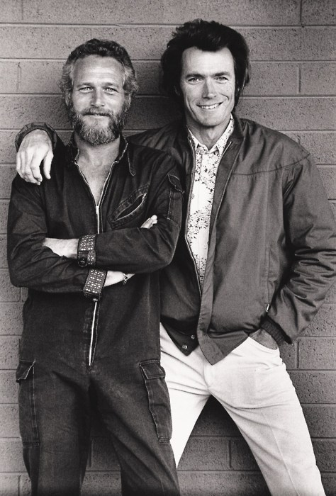 awesomepeoplehangingouttogether:  Paul Newman and Clint Eastwood (submitted by gezicht)  the amount of awesome in this picture makes me happy.