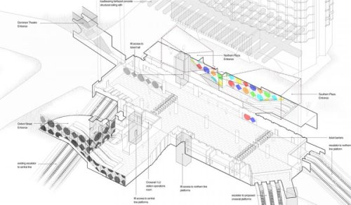 An axonometric drawing of the new Tottenham Court Road ticket hall, complete with art by Daniel Buren, from the page for the project on Art on the Underground. (thanks, Chris.)