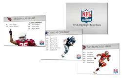 NFLA Highlight Members PresentationPhotoshop, Powerpoint Presentation created to pitch notable members of the NFL Alumni Association to a potential merchandising client. Includes a slide for every NFL franchise and their respective NFLA all-stars.