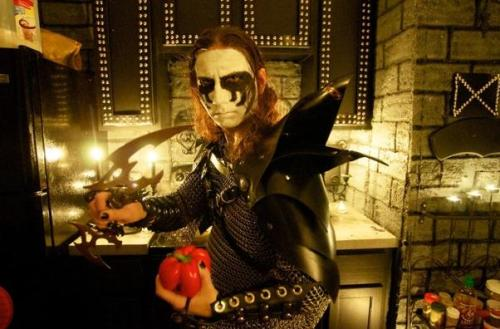 For Your Health: This is the Vegan Black Metal Chef. He lives in Orlando. His real name is Brian Manowitz. He is part of the extreme cooking movement. Photo by Roberto Gonzalez (The Washington Post)