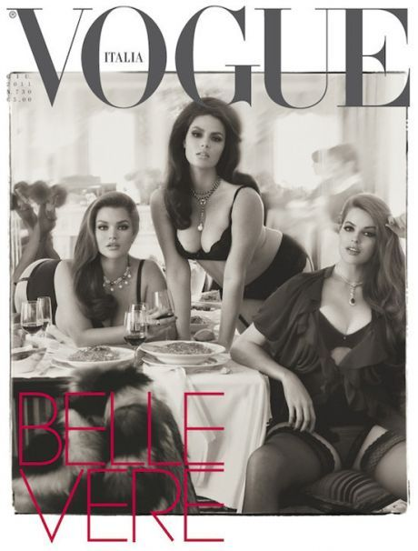 I saw last night that Vogue has plus size models on the cover of this months magazine. And by plus size I mean healthy, burger eating, full figured women. I love that such a high fashion, respected magazine is changing the way they define beauty. It gave me hope that the world isn't filled with billions of shallow people. Then, I walk into work today, turn to the One Minute News site and I see a segment done by Elyse about how your pant size affects your salary. Talk about a buzz kill.