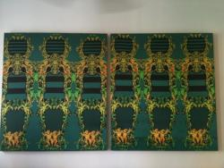 Prada fabric as canvas. (via Lockerz.com .:. Karen Robinovitz's Photos - Prada fabric turned into canvases in @TheRealDBA offices. Getting there…)