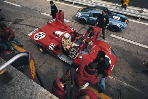 The 1000km of the Nurburgring, 1970. That's the Surtees/Vacarella Ferrari 512S in the pits, being passed by the Unipower GT.