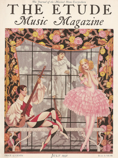 pickurselfup:  The Etude Music Magazine [July, 1931] cover by Hope.