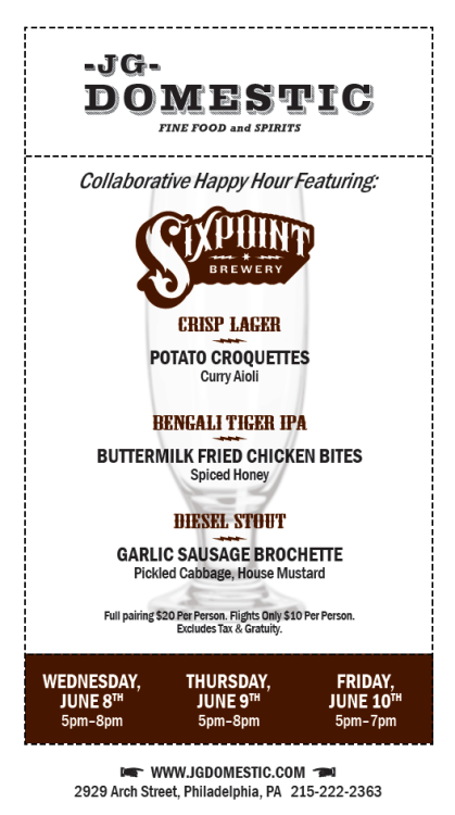 Three nights of happy hour pairing Brooklyn's Sixpoint Brewing and JG Domestic bites.