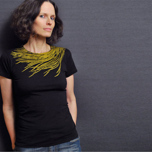 "lovelyetsy:  ""Peacock Feather"" T-shirt by sealmaiden"