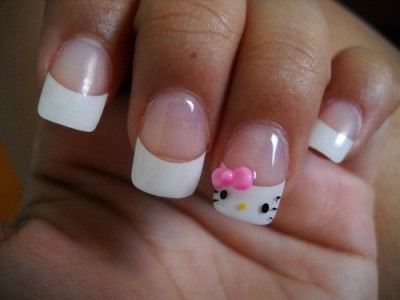 Ahhh! Hello Kitty nails Here's a nail tutorial to inspire your own Hello Kitty nail look! (via pinterest)