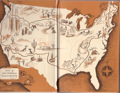 lostinamerica:  Map of John Steinbeck's Travels with Charley