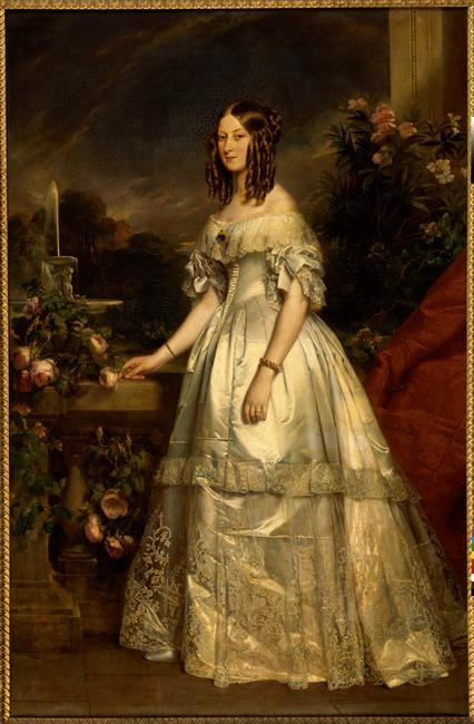 Victoire-Auguste-Antoinette, Princesse de Saxe-Coburg-Gotha, Duchesse de Nemours 1840 Franz Xavier Winterhalter It's always hard to find Winterhalters to post, since everyone's so familiar with his work.