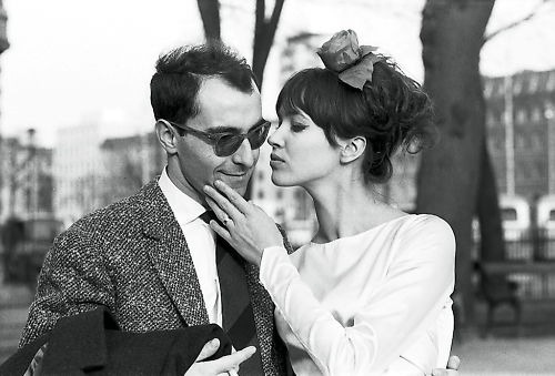Jean-Luc Godard and Anna Karina photographed by Agnès Varda on their wedding day, March 1961