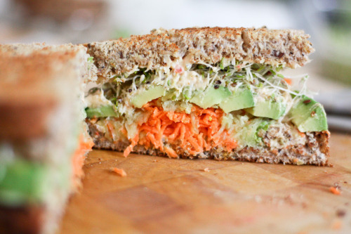 """humdinger hummus, carrot, cucumber, avocado and alfafa sprout sammich"""