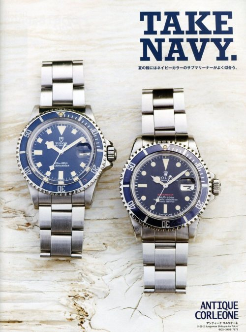 Take Navy | Free & Easy I love everything about this page. Watches, colors, font, layout. So simple but so good. Take Ivy? How about Take Navy? To read more about the Tudor Snowflake, click here. For more info on this navy version of Rolex's Red 1680, click here. Did a quick Google search on Antique Corleone… turns out the only thing that really comes up is a Foursquare venue, haha.
