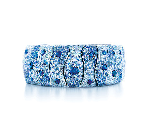 Happy 4th of July!  The Tiffany Montana Sapphire Bracelet. The big blue western sky in platinum, Montana pastel sapphires, deep blue sapphires and brilliant diamonds. Homemade ice cream, fireworks in the night sky, good friends and a touch of Tiffany. Americana at its best. $140,000. Photo by Carlton Davis