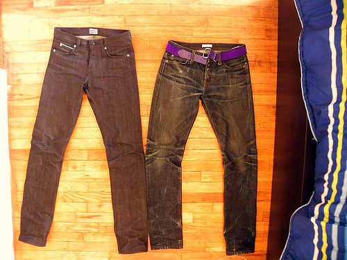10 month unbrandeds next to brand new n&f broken twills