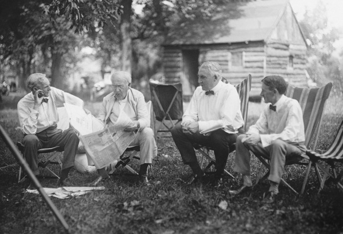 Henry Ford, Thomas Edison, Warren G. Harding, and Harvey Firestone, Maryland, 1921.