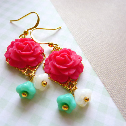 Deep Pink Roses with White and Turquoise Bell Flowers Earrings via Katheyl
