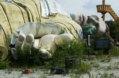 "ianbrooks:  Urban Decay: Abandoned Gulliver's Travels Themepark in Japan Only open for a few years before closing down in 2001, the ruins remained untouched by most human hands - save a few industrious graffiti artists - for several more years before eventually succumbing to the bulldozer of change. But it also shared an interesting neighborhood: such as the nearby landmark of Kamikuishiki village(the former location of the Aum Shinrikyo doomsday cult's sarin gas manufacturing facilities) and the ""Sea of Trees,"" a rural forest that also happens to be one of Japan's premier suicide destinations. Checks out more photos over at weburbanist.  (via: io9)"