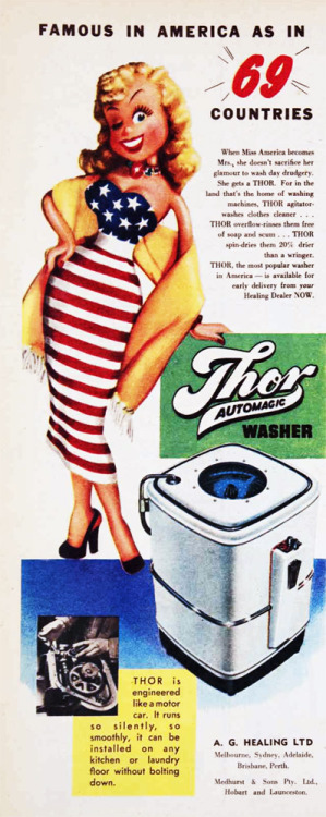 Famous in America as in 69 countries - Thor Automatic Washer. 1955.