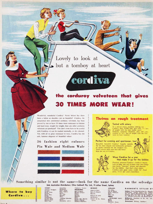 Lovely to look at but a tomboy at heart - Cordiva corduroy velveteen. 1955.