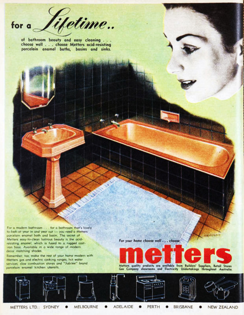 For a lifetime…Metters sinks and tubs. 1955.  I wish I had a black and pink bathroom like this.