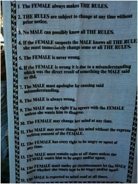"These Rules should just replace the wedding vows because ""the game"" pretty much starts from there."
