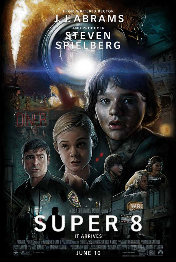 Check out this amazing Super 8 poster from Drew Struzan!  Does his artistic style look familiar? Well that would be because he's the legendary Illustrator behind such works as the iconic Star Wars, The Muppets, Indiana Jones & Blade Runner poster-art as well as the recent Harry Potter and HellBoy movie artwork.