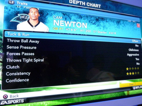 sbnation:    PHOTO: Cam Newton Is Oblivious  These have been cracking me up. Pastapadre has been posting several of these from his time at E3. I've always enjoyed players bitching about their ratings in Madden in the past. I'm betting seeing things like OBLIVIOUS and Clutch? NO will make for some amusing sound bites.