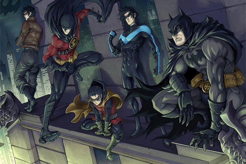 gaveedra-7:  justinrampage:   DC's Dark Knights patrol Gotham City in Drake Tsui's excellent (pre-reboot) two piece panoramic illustration. Check out the artwork as a whole HERE. Related Rampages: Venture Bros. | Versus (Scott Pilgrim) Vengeance and Night by Drake Tsui / Kuroi-Tsuki (Facebook) (Twitter)  Wow! This is beautiful! Which makes me wonder even more how they can take the Batgirls away.